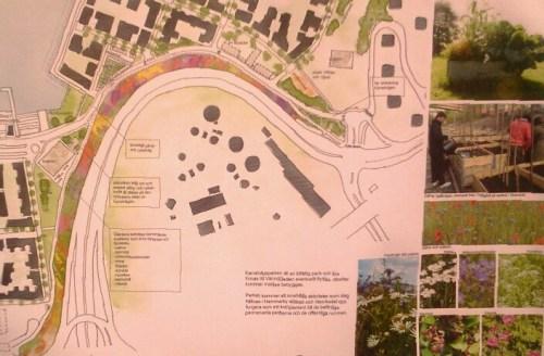 Nyrén Arkitekters plan för tillfälliga Kanalvägsparken i Henriksdalshamnen