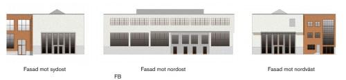Finnboda, svetshallar, renovererad fasad mot sydost, nordost och nordtväst