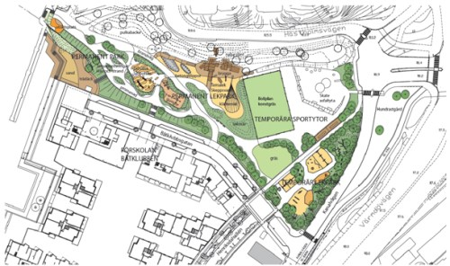 karta anders franzéns park i henriksdalshamnen