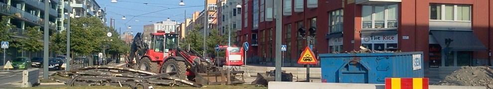 hammarby sjöstad, stockholm: avstängd tvärbana i sickla udde