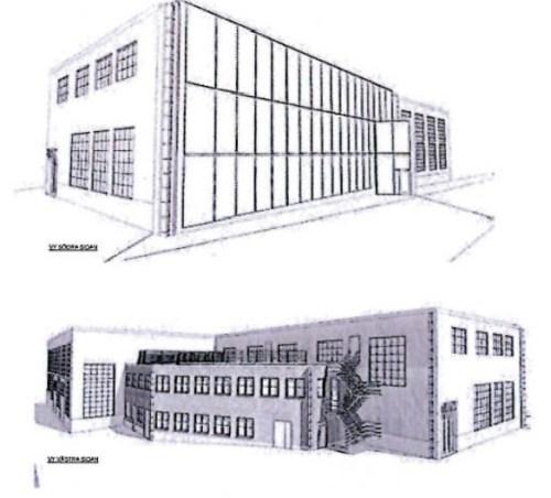 Finnboda, Nacka: Skisser för omgörning av spantverkstaden med bland annat glasvägg