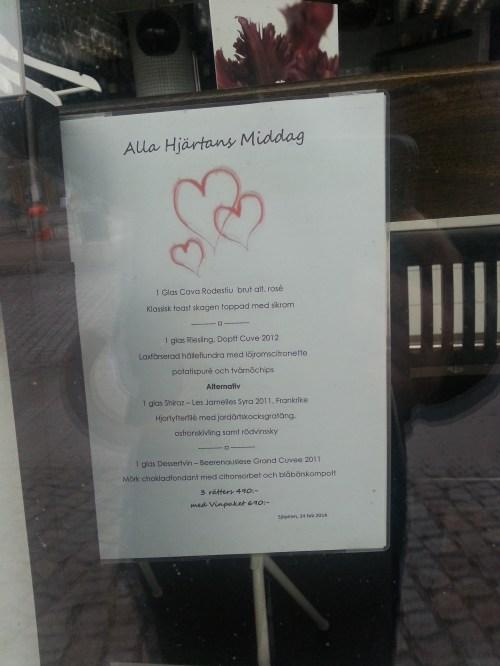 Alla Hjärtans meny på Sjöpiren i Henriksdalshamnen