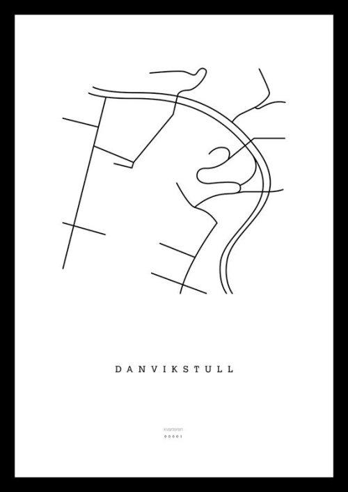 Plansch på kvarteren.se visar gatunätet kring Danvikstull