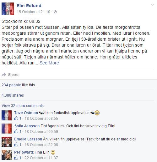 elin edlunds inlägg på facebook