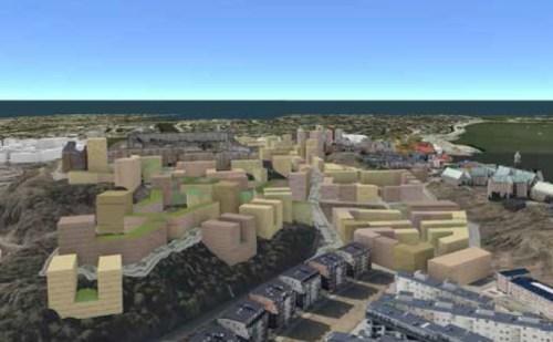 föreslagen ny bebyggelse i Henriksdal