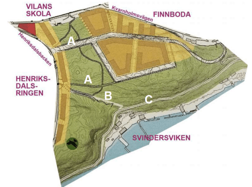 Karta visar hur Nacka kommun vill bevygga skogen Trolldalen i Henriksdal