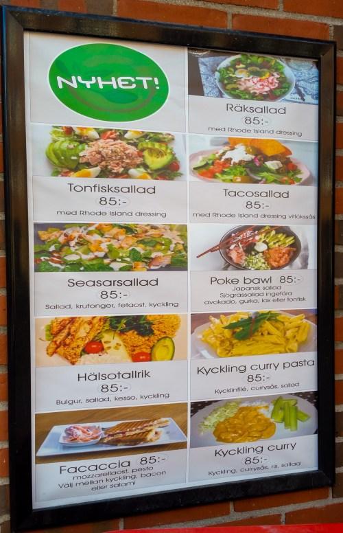 Meny på Danviks Sushi Center