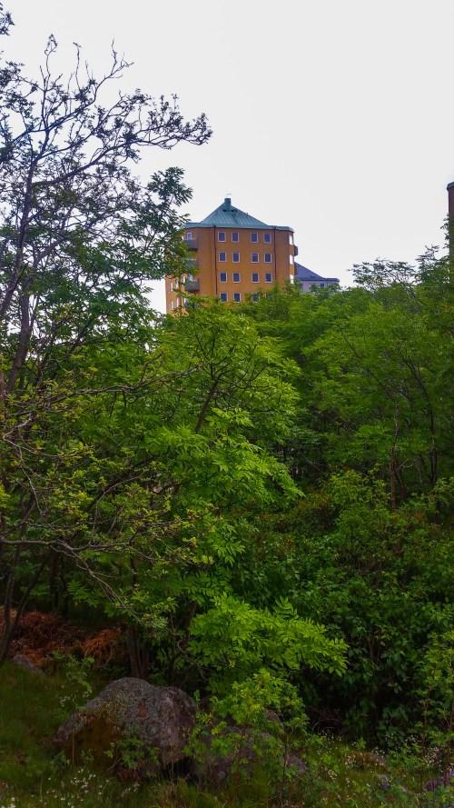 Danviksklippans punkthus bakom träden på Bageriberget