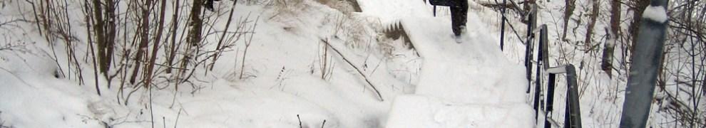 Snötäckt Henriksdalstrappa