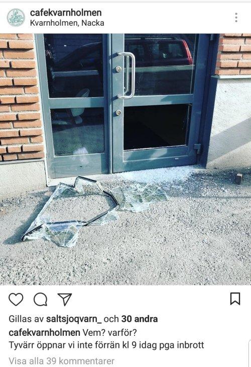 Inbrott på Café Kvarnholmen i Nacka