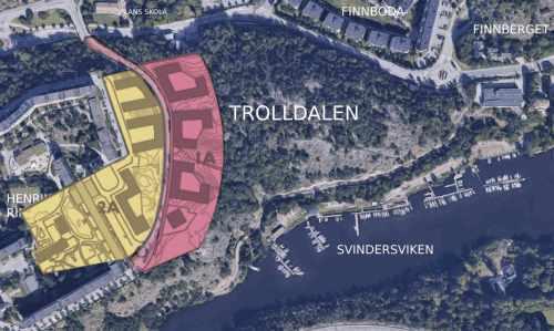 Karta över etapp 1 i planprogrammet för Henriksdal inkl. Henriksdalsbacken, Henriksdalsbacken och västra Trolldalen i Nacka
