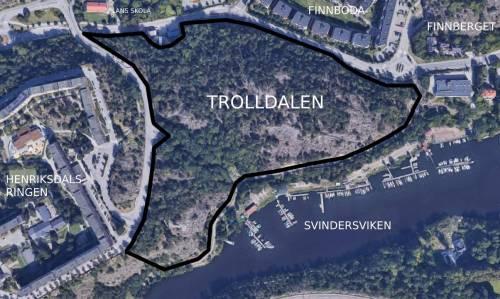 Satellitdata över skogen Trolldalen mellan Finnboda, Henriksdalsringen och Svindersviken