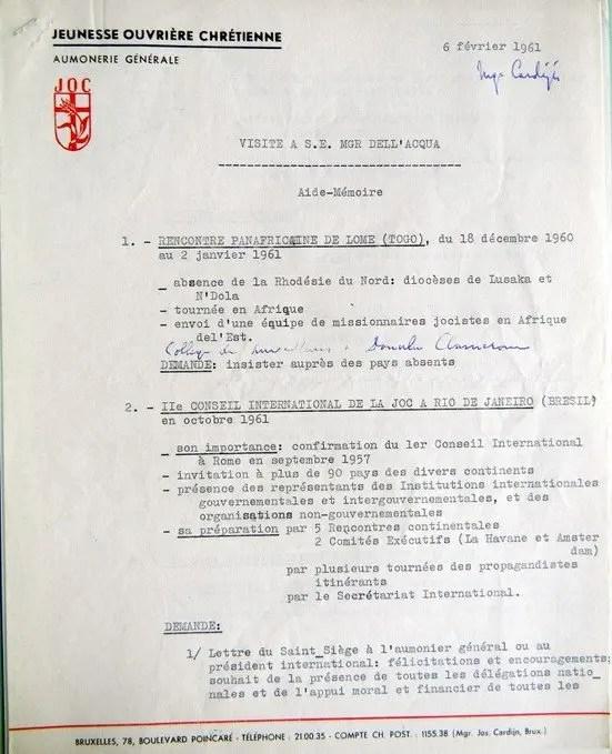 Aide-Mémoire Dell'Acqua 06 02 1961