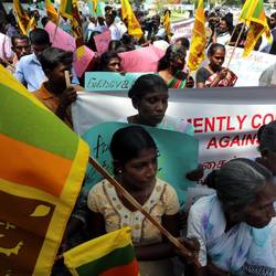 A protest held by the local Tamil minority