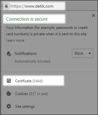 Ciri-ciri website yang memakai atribut SSL