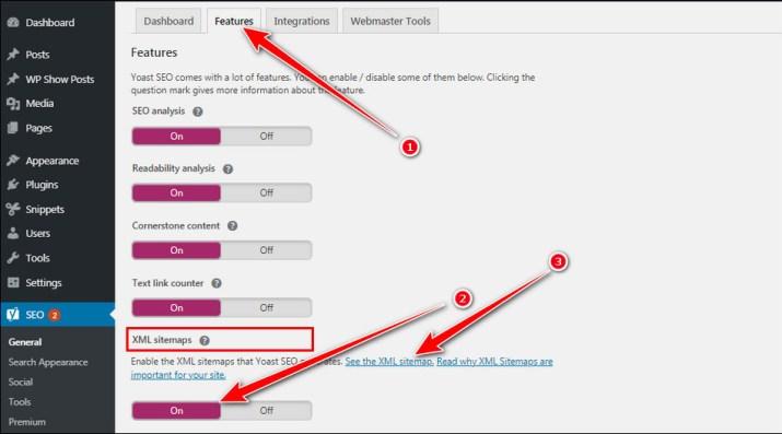 Cara mengaktifkan fitur sitemap di plugin Yoast