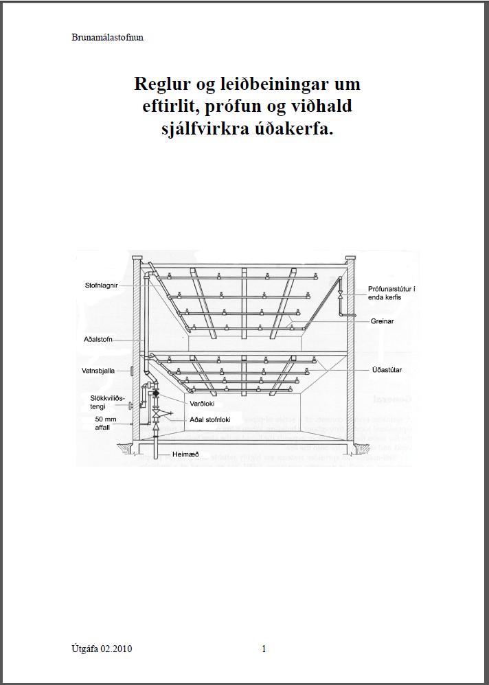 Leiðbeiningar um eftirlit, prófun og viðhald sjálfvirkra úðak. 162.1.BR1
