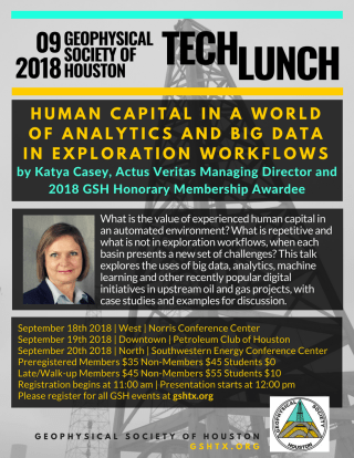 Geophysical Society of Houston Tech Lunches flyer