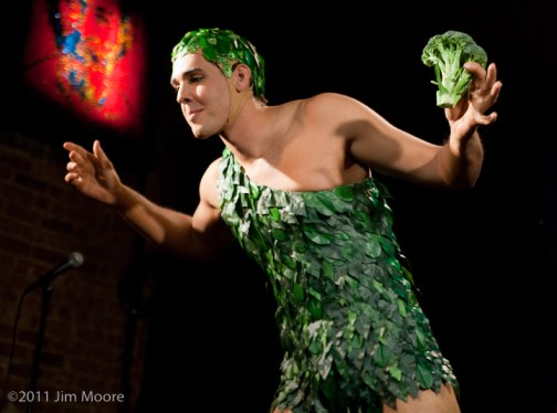 Mr. Gorgeous with broccoli and his Jolly Green Giant costume.