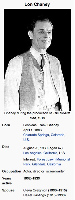 Lon Chaney picture and bio from Wikipedia