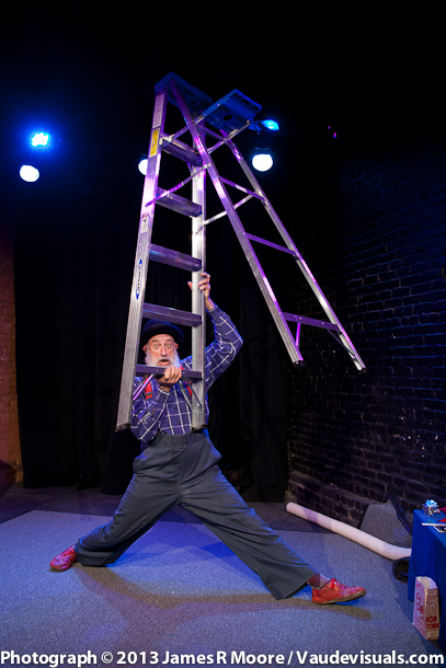 Avner trying to work with a ladder in the show.