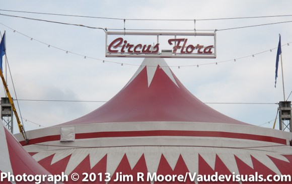 Circus Flora tent anchored in St. Louis.