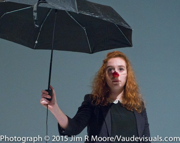 Antonia Lassar performs a clown act about her dog.