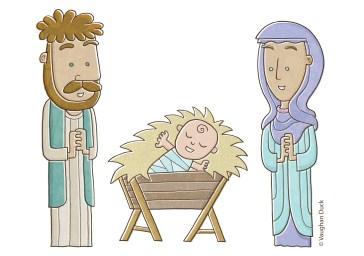 Nativity Baby Jesus, Mary and Joseph