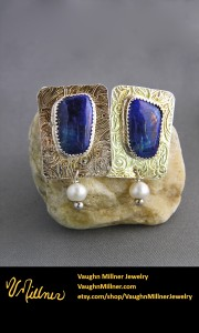 Lapis Earrings in Sterling with Pearls