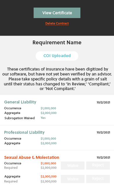 Waiver Screen - Certificate of Insurance Uploaded - View Coverage