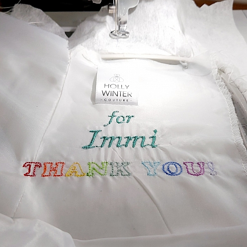 Thank you NHS embroidered in bespoke wedding dress by Holly Winter Couture