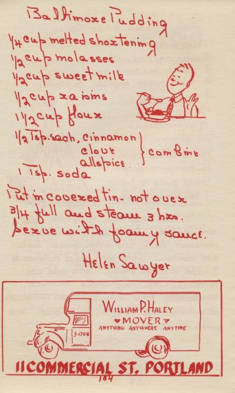 "From ""Someone's in the Kitchen,"" a collection of recipes from The Matrons of Meetinghouse Hill, South Portland, ME (1947)"