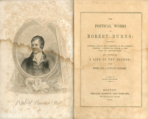 Burns, Robert, Poetical Works of Robert Burns , PR4300 1850 B6, Special Collections Research Center, George Mason University.