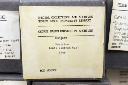 Box containing Moratorium Petition. From the George Mason University Office of the President records, 1949-2004 #R0019.
