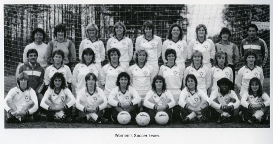 1985 George Mason University Women's Soccer team. From 1986 yearbook By George, George Mason University Archives, University Publications, Special Collections Research Center, George Mason University Libraries.