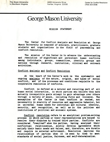 """Mission Statement"". James H. Laue papers, Collection #C0055, Box 5, Folder 02, Special Collections Research Center, George Mason University Libraries."