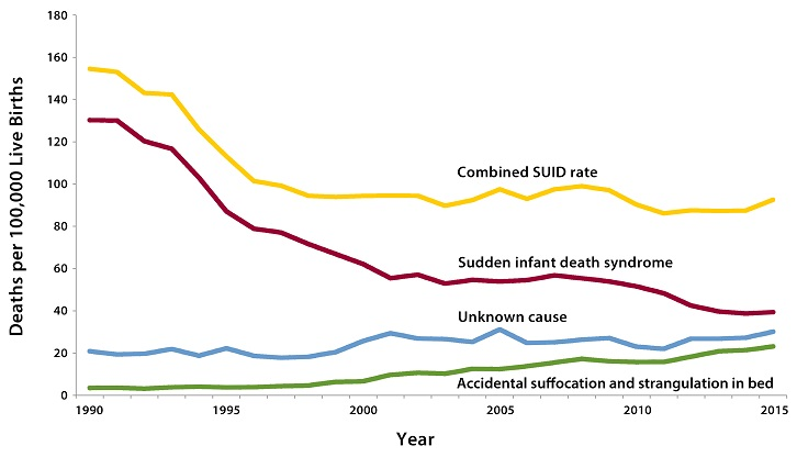 Rates of most causes of sudden infant death, including SIDS, have dropped since the mid-1990s.