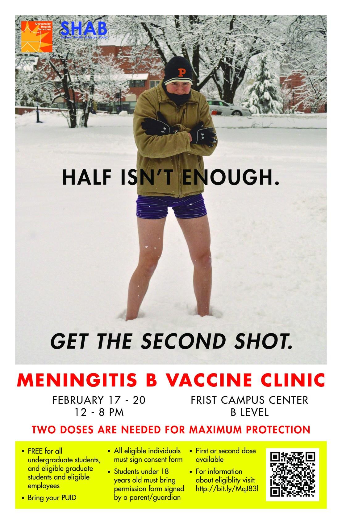 Meningitis B vaccination poster during an outbreak at Princeton.