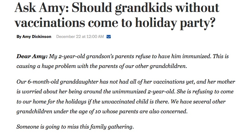 Ask Amy took on the issue of the risk of an intentionally unvaccinated child to the rest of the family.