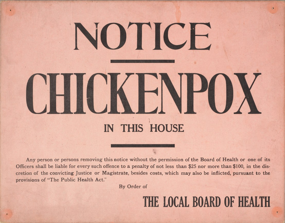 A chickenpox quarantine sign