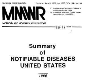 The CDC Morbidity and Motality Weekly Report includes summaries of notifiable diseases in the United States.