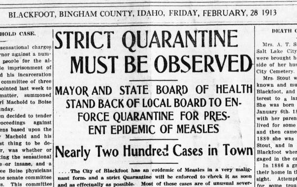 Quarantines were routine in the pre-vaccine era.