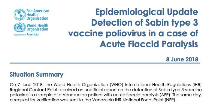 Report of polio in Venezuela