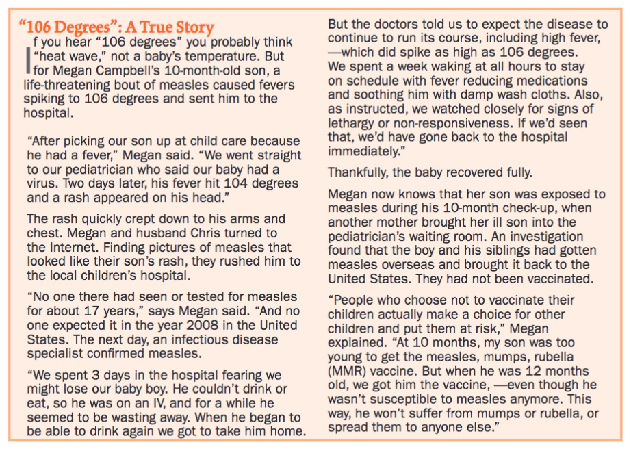 This family didn't have a choice about their son getting sick - he was too young to be vaccinated when he was exposed to an unvaccinated child with measles.