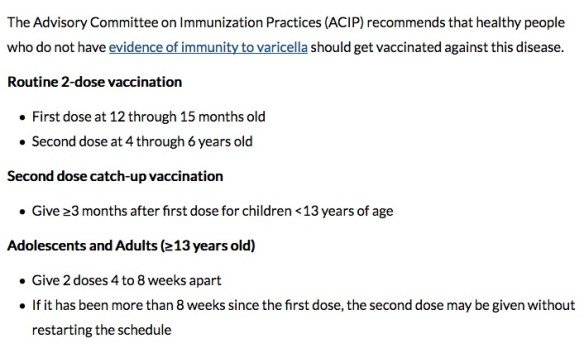 If you have never been vaccinated or had a natural chicken pox infection with evidence of immunity, then you should get two doses of the chicken pox vaccine.