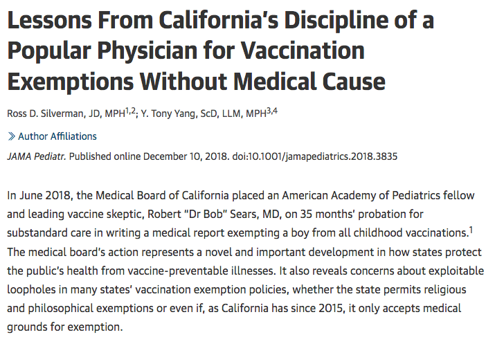 Bob Sears got in trouble with the Medical Board of California over vaccine exemptions.