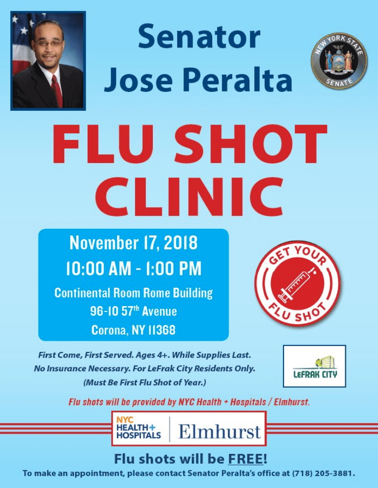 Senator Jose Peralta partnered with a local hospital to help get members of his community free flu shots.