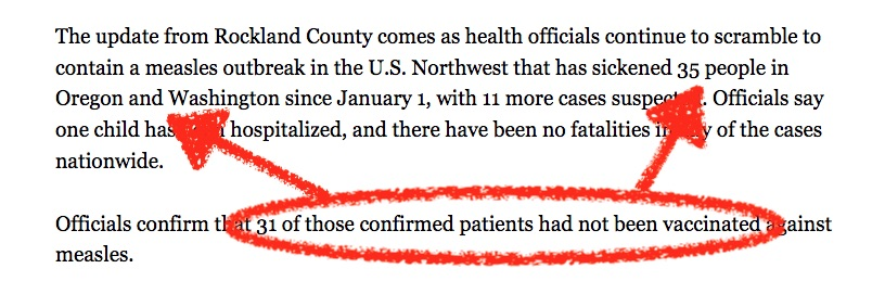 The 31 unvaccinated folks in the abc7NY article are clearly from the Oregon/Washington Outbreak.
