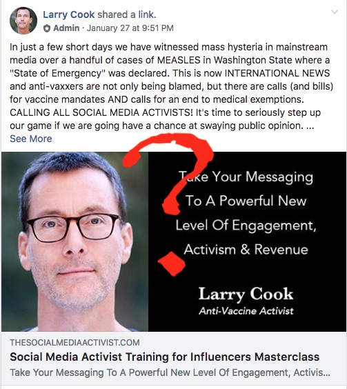 "The only ""mass hysteria"" is in anti-vaccine Facebook groups. Is Larry Cook using it to raise money for himself?"