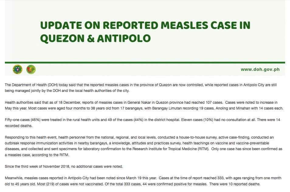 Conflict zones plus vaccine hesitancy contribute to measles outbreaks in the Philippines.